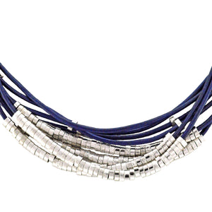SN140RC Blue Leather Necklace with Rhodium