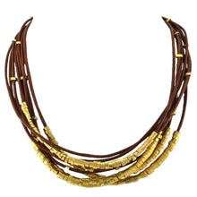 Load image into Gallery viewer, SN140 Undyed Leather Necklace with Gold