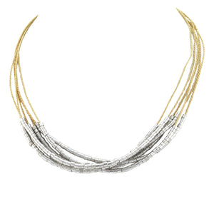 SN169R Natural Cord Necklace with Rhodium