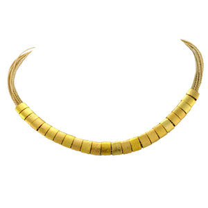 SN212B Natural Fiber Necklace with Gold Plated Rings