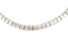 Load image into Gallery viewer, SN212R Natural cord Necklace with Rhodium Plated bands