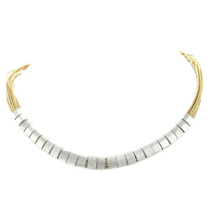 SN212R Natural cord Necklace with Rhodium Plated bands