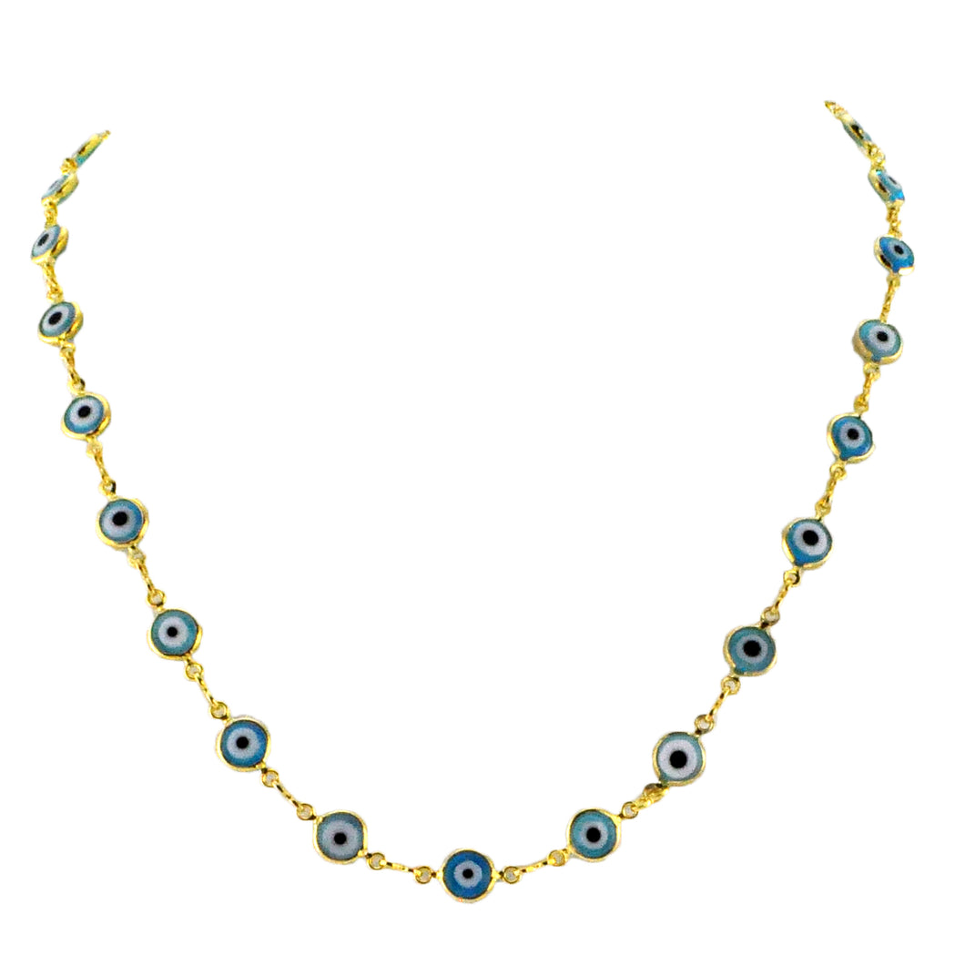 SN222BLU Gold Plated Necklace with Blue-Eyed Beads