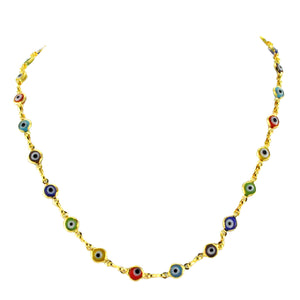 SN222MT Gold Plated Necklace with Multicolored Evil Eye Beads