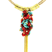 Load image into Gallery viewer, SN247TQCO Natural Fiber Necklace with Turquoise, Coral and Gold