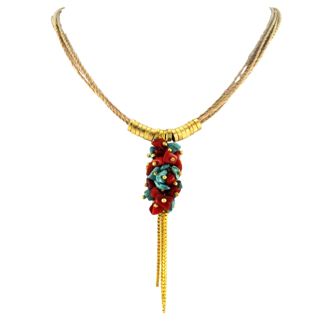 SN247TQCO Natural Fiber Necklace with Turquoise, Coral and Gold