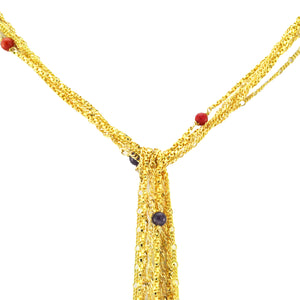 SN249MT 18k Gold Plated Necklace with Mixed Semiprecious Stones