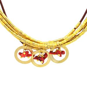 SN270CO Necklace with Leather, Gold, Natural Fiber