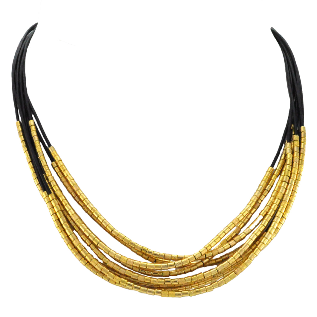 SN281B 8 Strap Black Leather Necklace with Gold