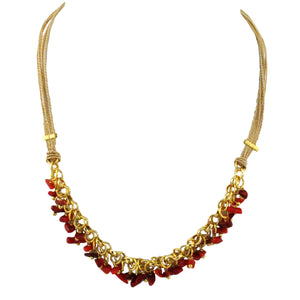 SN343CO Natural Fiber Necklace with Red Stone