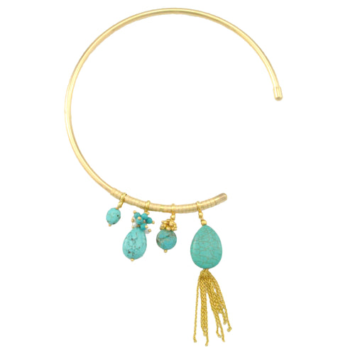 SN376TQ Choker Length 3/4 necklace with Turquoise