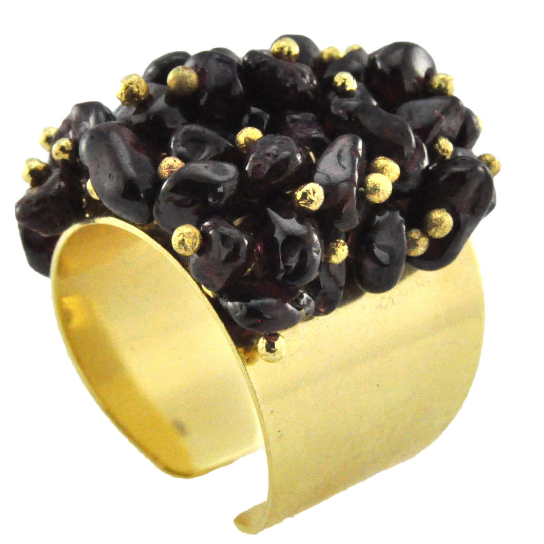 SR001GA 18k Gold Plated Ring with Garnet