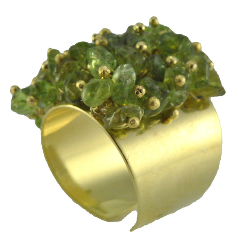 SR001PD 18k Gold Plated Ring with Peridot