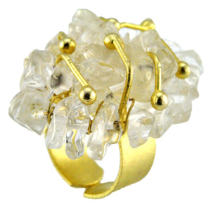 SR002CQ 18k Gold Plated Ring with Clear Quartz