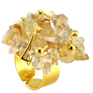 SR002CT 18k Gold Plated Ring with Citrine