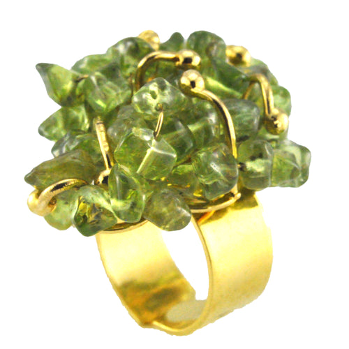 SR002PD 18k Gold Plated Ring with Peridot