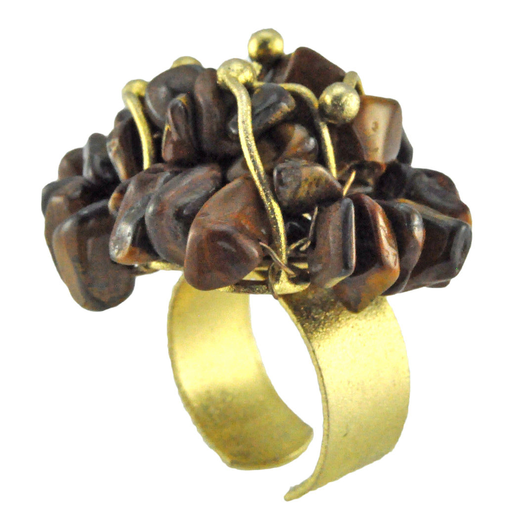 SR002TE 18k Gold Plated Ring with Tiger Eye