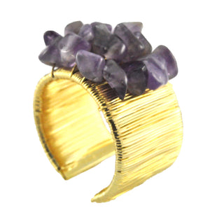 SR066AM 18k Gold Plated Ring with Amethyst