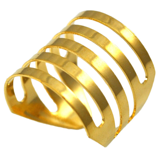 SR097 18k Gold Plated Ring with Slotted Design