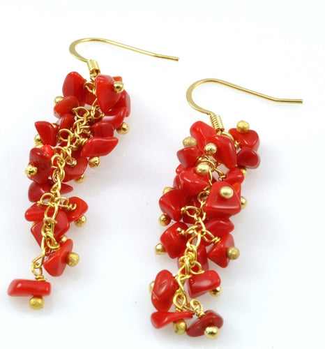 SE472CO Grape Cluster Earrings with Coral