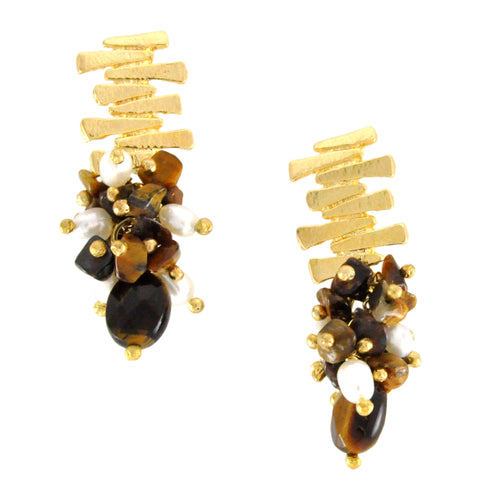 SE758TE Gold and Tiger Eye Earrings