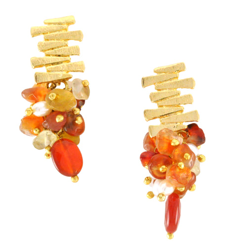 SE758AG Gold and Agate Earrings