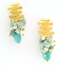Load image into Gallery viewer, Gold and amazonite earrings