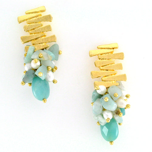 Gold and amazonite earrings