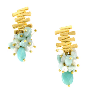 SE758AZ Gold and Amazonite Earrings