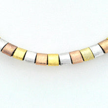 Load image into Gallery viewer, Brown leather necklace with 3 metals