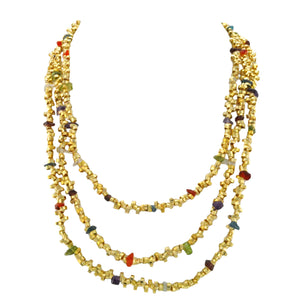SN251 18k Gold Plated Necklace with Mixed Semiprecious Stones