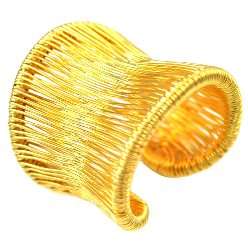 SR103 18k Gold Plated Wire Wrapped Ring