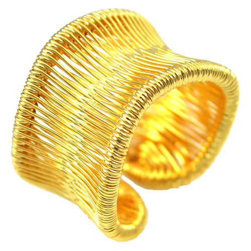 SR104 18k Gold Plated Wire Wrapped Ring