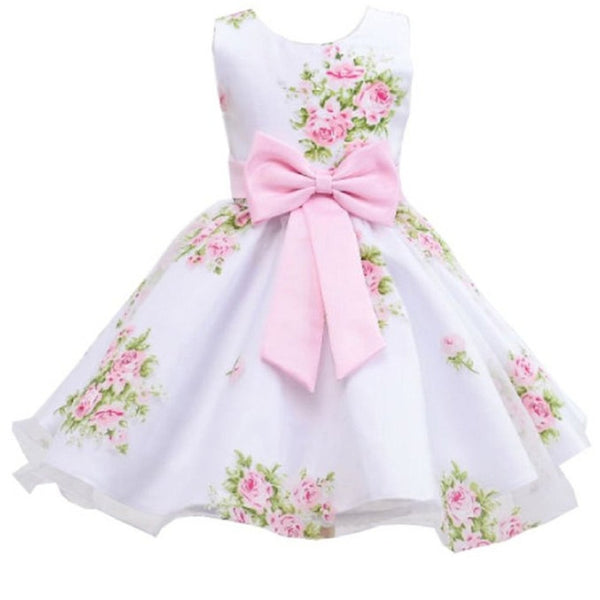 Flower Print Dress with Bow Waist Decoration Dress for 2-8 Years