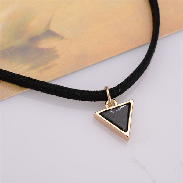 Choker Necklace with Triangle Faux Stone From India