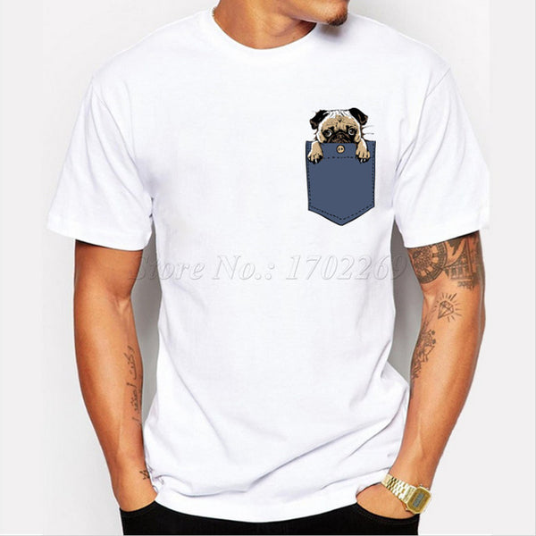 Poly/Spandex Men's T-Shirt with in-Pocket Pug Design