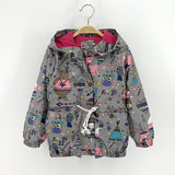 Gray & Blue Hooded Jacket for girls