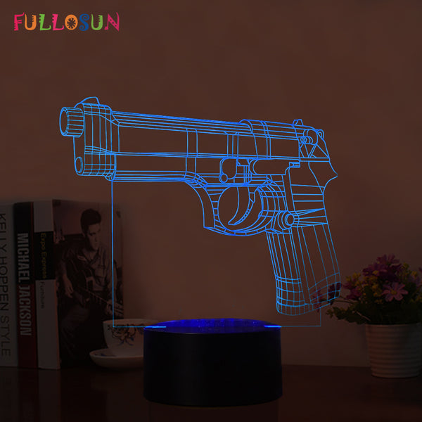 USB LED 3D Table Pistol Lamp (7 Colors)