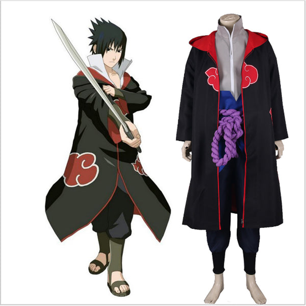 Anime Naruto/Akatsuki Uchiha Sasuke Cosplay Halloween Party Costume Hooded Robe S-XXL