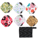 1PCs Washable Wet Bag + 6PCs Reusable Bamboo Cloth Sanitary Panty Pads