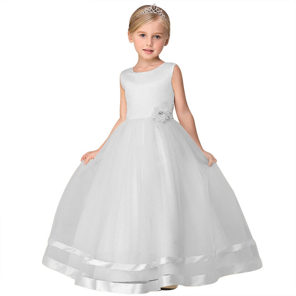 Girls Dress With Ribbon and Flower Decoration