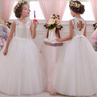 White Flower Pageant Style Girl Dress