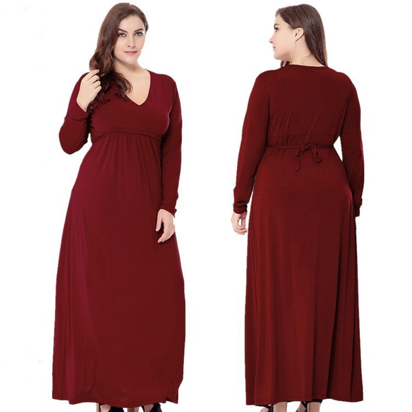 Elegant Red Wine Women V Neck Long Dresses