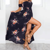 2018 Boho Style Off Shoulder Beach Floral Print Chiffon Long Dress