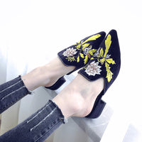 3d Embroidery Women Mule Shoes (Sherbil)