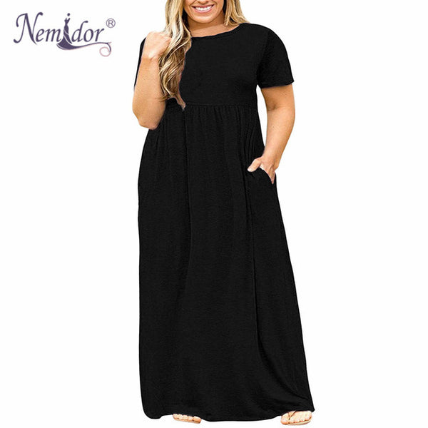 2018 Hot Sales Women O-neck Short Sleeve Long Casual Dress (Plus Sizes)