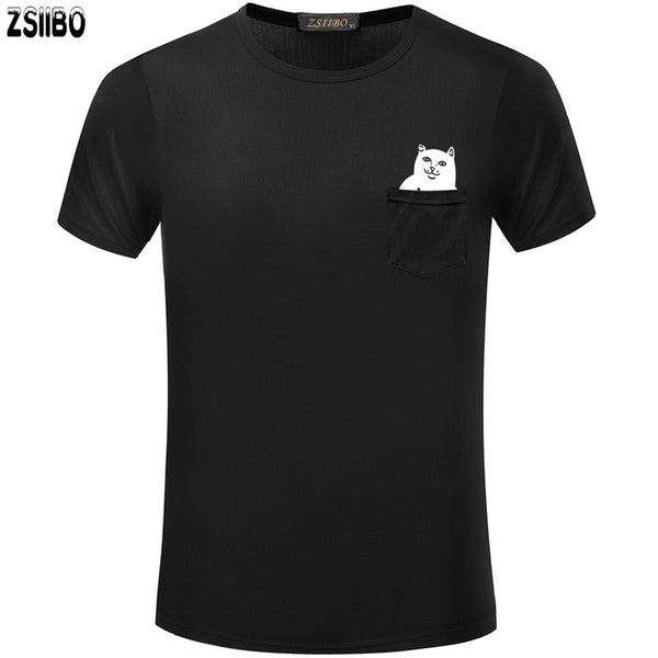Men's Poly T-Shirts with in-Pocket Cartoon Design