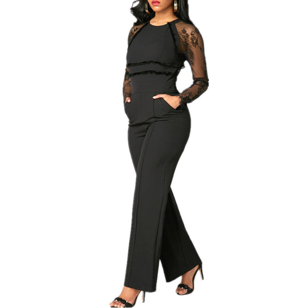 O-Neck See-Through Long Sleeve And Back Jumpsuit Style