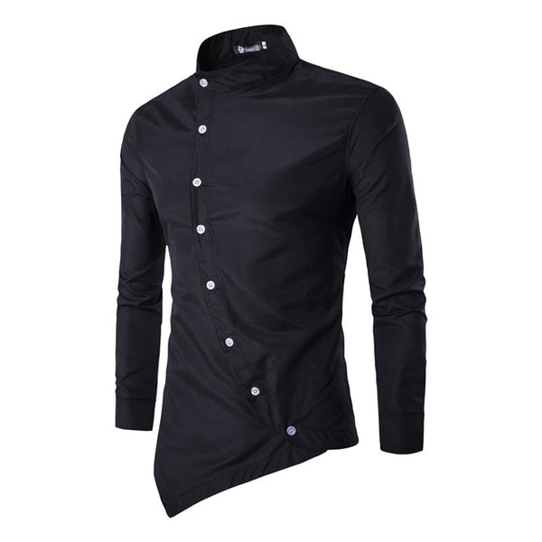 2018 Personality Oblique Button Dress Shirt