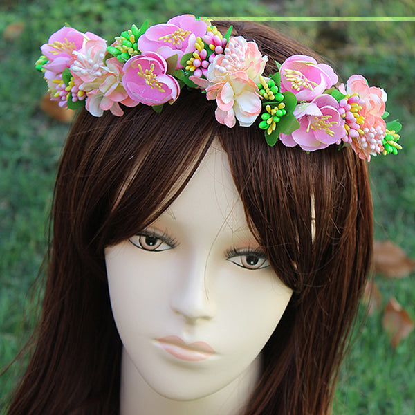 Hairband Ornament - Woodland Fairy Yellow Peach Blue Wild Flower Crown